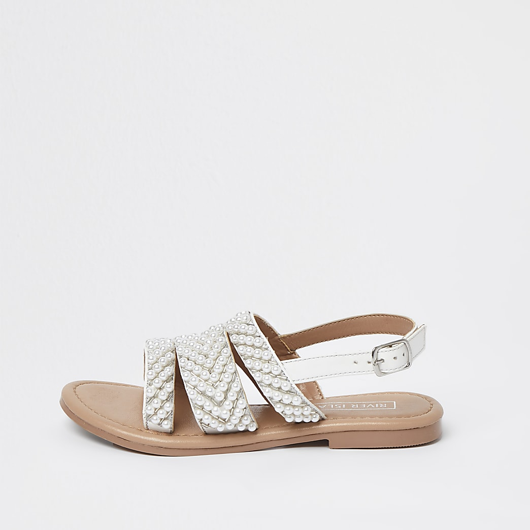 Girls white pearl embellished sandals