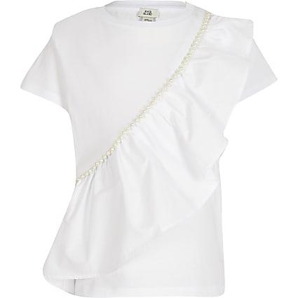 Girls white pearl frill t-shirt