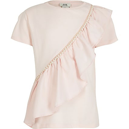 Girls white pearl frill t-shirt