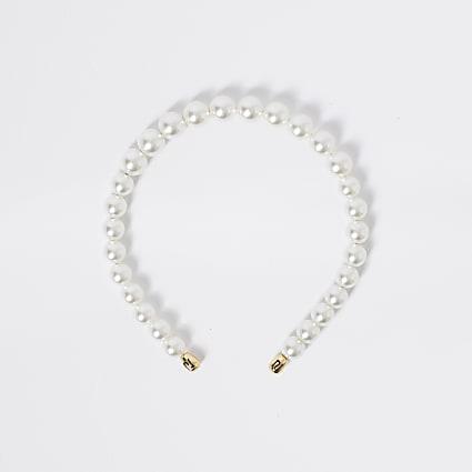Girls white pearl headband