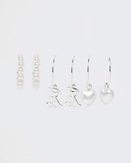 Girls white pearl hoop earrings 3 pack