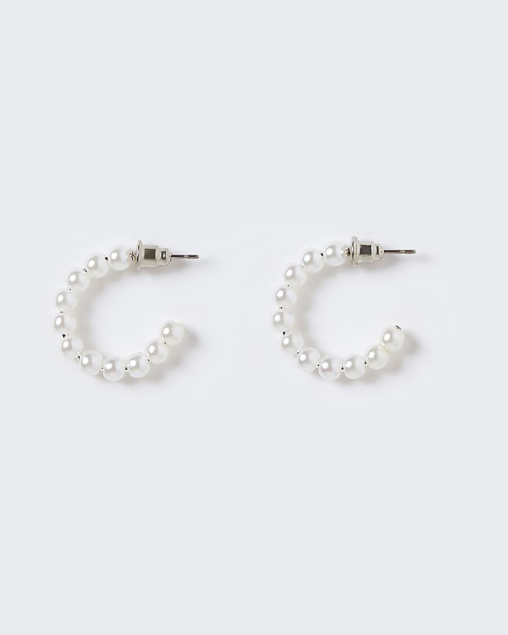 Girls white pearl hoop earrings