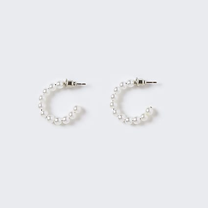 Girls white pearl hoop earrings