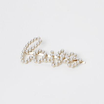 Girls white pearl 'Love' hair clip