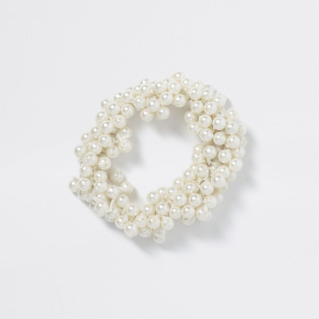 Girls white pearl scrunchie hairband