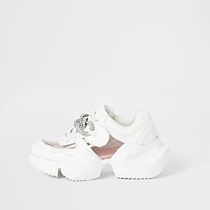 Weiße, robuste Mädchen-Sneaker mit Schmuckstein aus Plexiglas