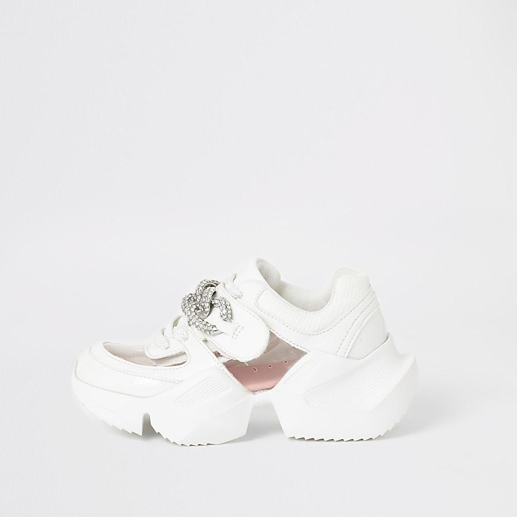 Girls white perspex diamante chunky trainers