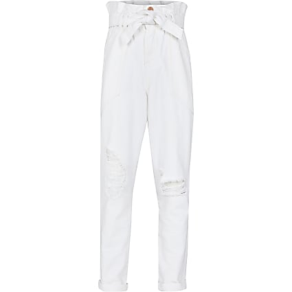 Girls white pipped paperbag jeans