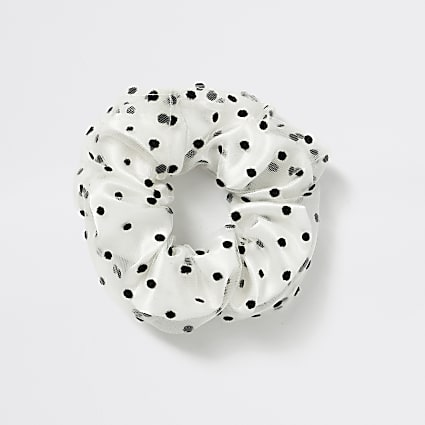 Girls white polka dot scrunchie