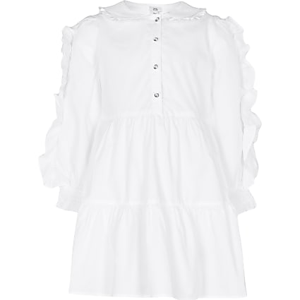 Girls white poplin collar dress