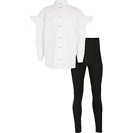 Girls white poplin shirt and legging outfit
