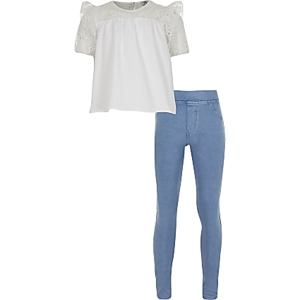 Girls white poplin t-shirt set
