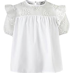 T-shirt en popeline blanc pour fille