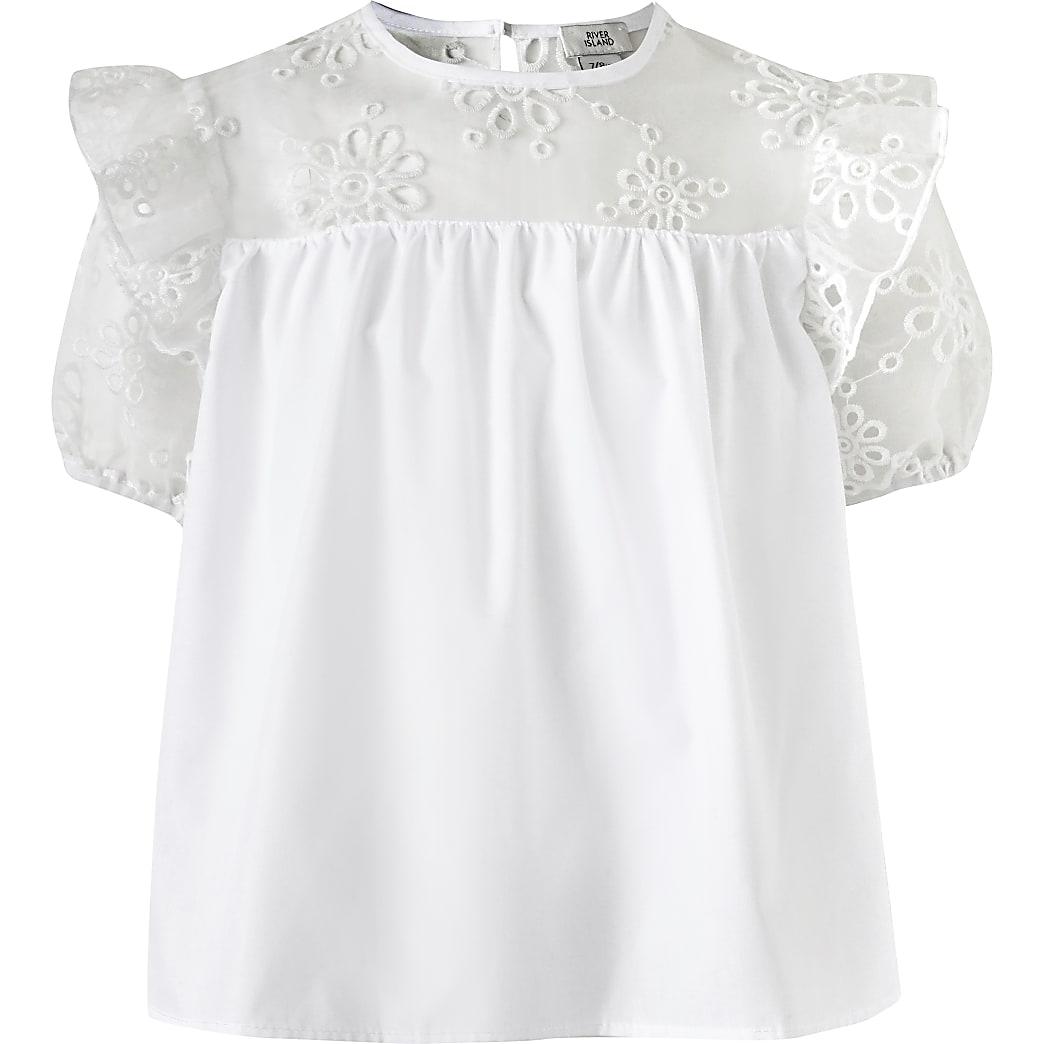 Girls white poplin T-shirt