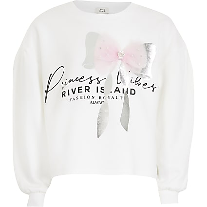 girls white 'Princess' bow sweatshirt