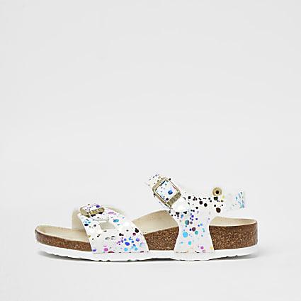 Girls white print Birkenstock strap sandal
