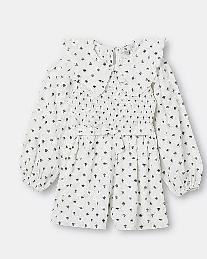 Girls white print collared playsuit