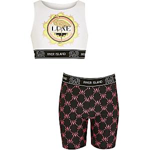 Witte fiets shorts bikini set met print voor meisjes