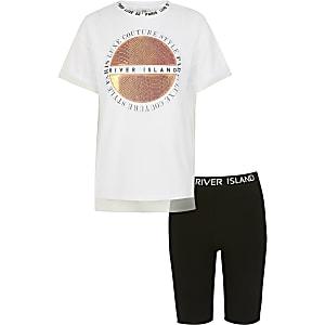 Witte outfit met T-shirt met print en mesh voor meisjes