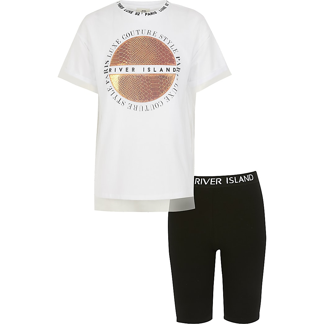Girls white printed mesh T-shirt outfit