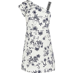 Girls white printed one shoulder dress