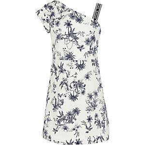 Witte jurk met blote schouder en print voor meisjes