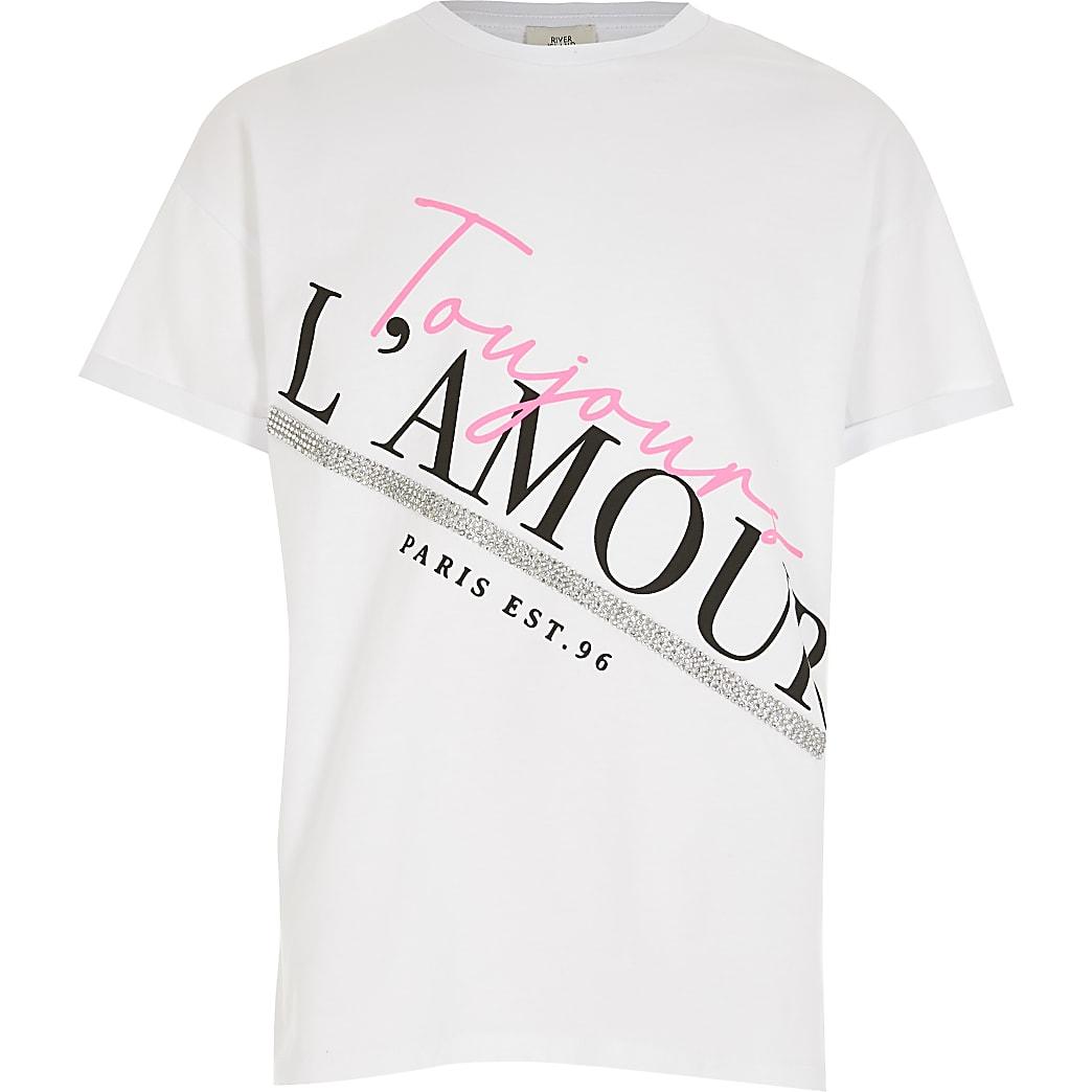 Wit T-shirt met print en split aan de zijkant voor meisjes