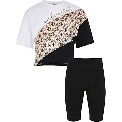 Girls white printed t-shirt cycling short set