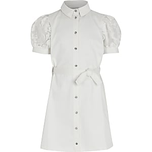 Girls white puff organza sleeve shirt dress