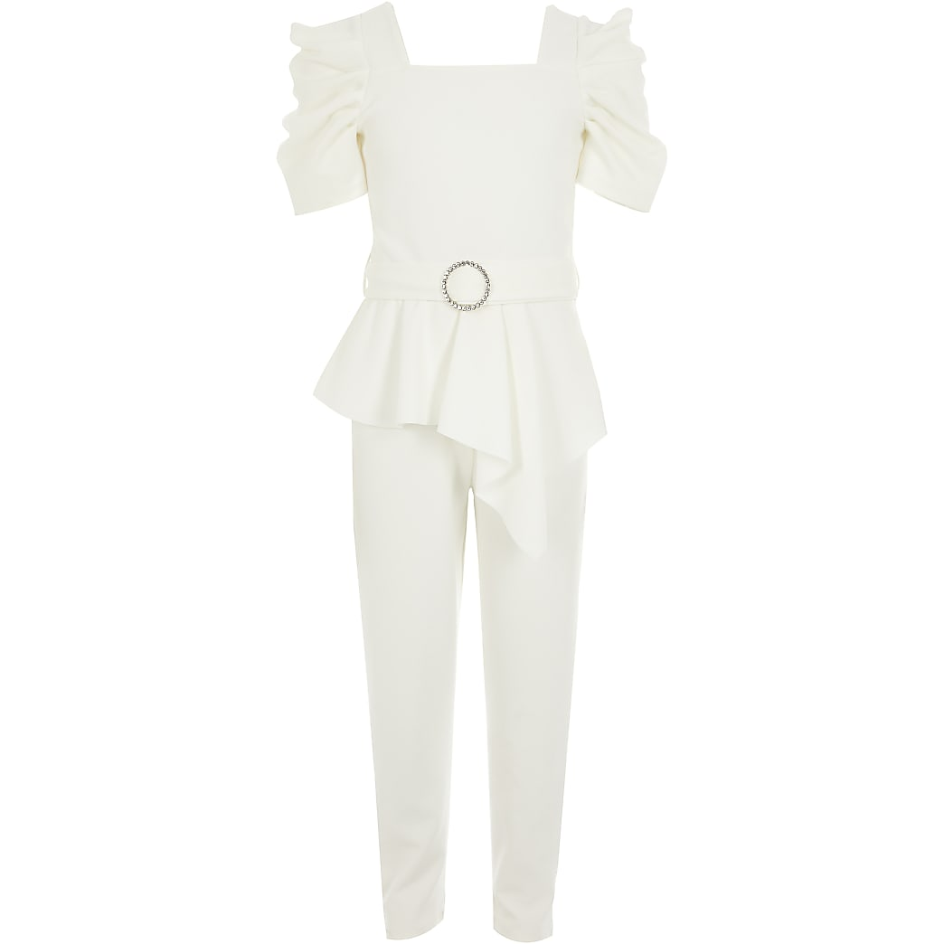 Girls white puff sleeve belted jumpsuit