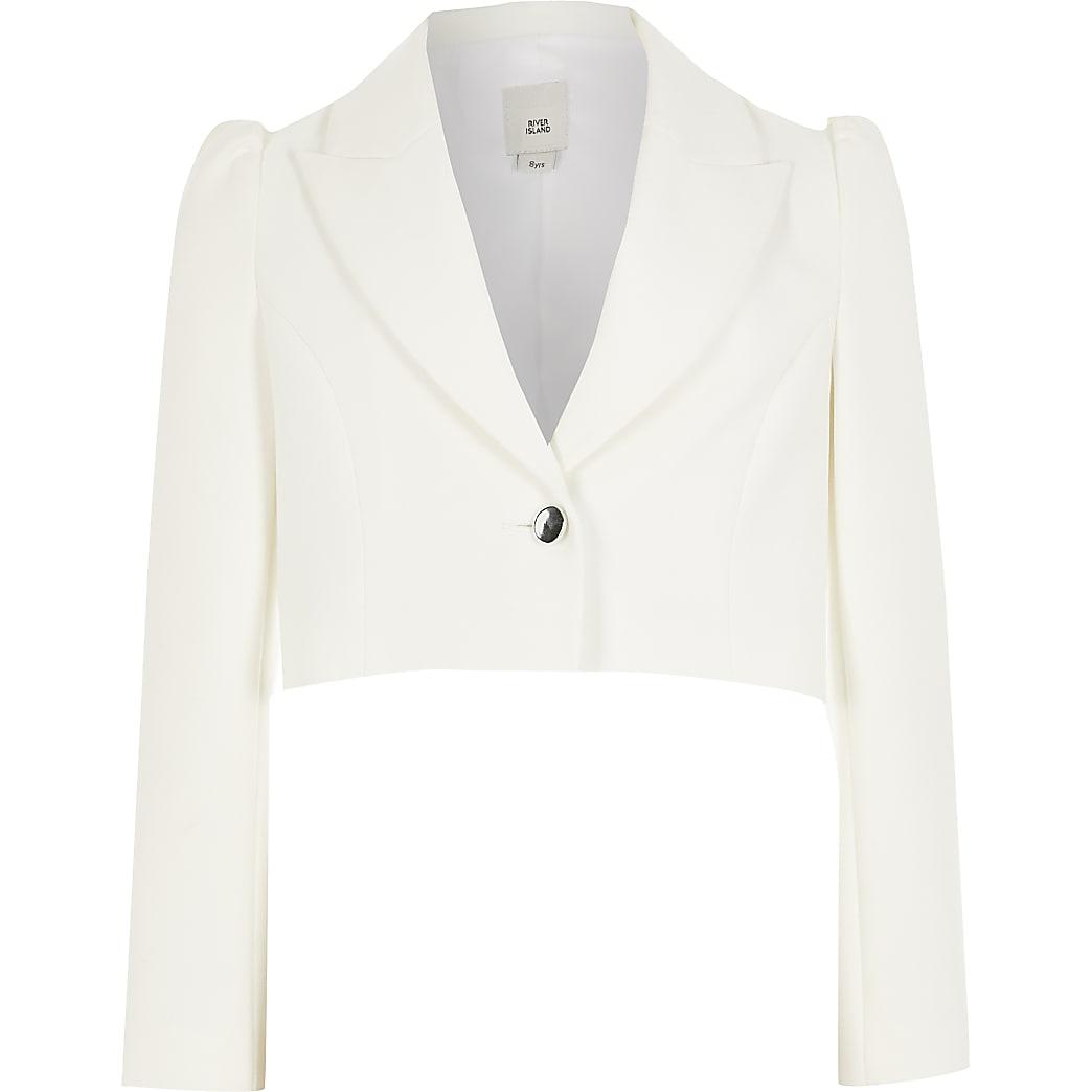 Girls white puff sleeve cropped blazer