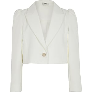 Girls white puff sleeve cropped blazer