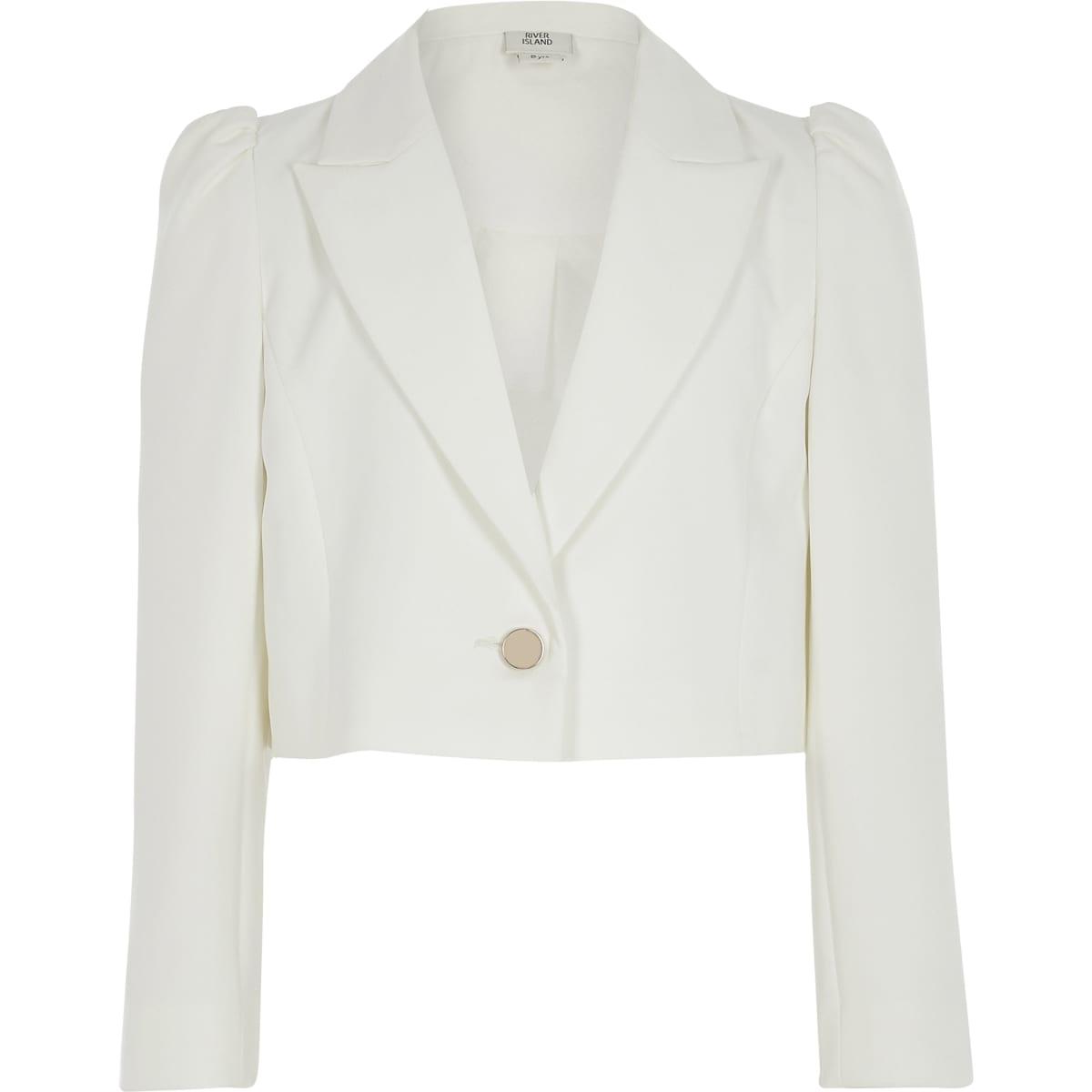 Witte cropped blazer met pofmouwen voor meisjes