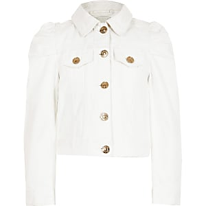 Girls white puff sleeve denim jacket