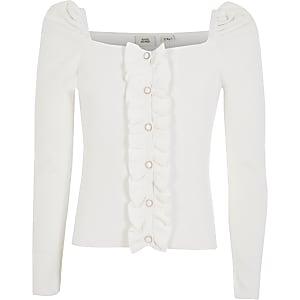 Girls white puff sleeve knitted cardigan