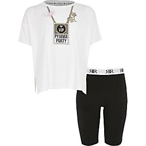 Witte pyjama met 'Pyjama party'-print voor meisjes