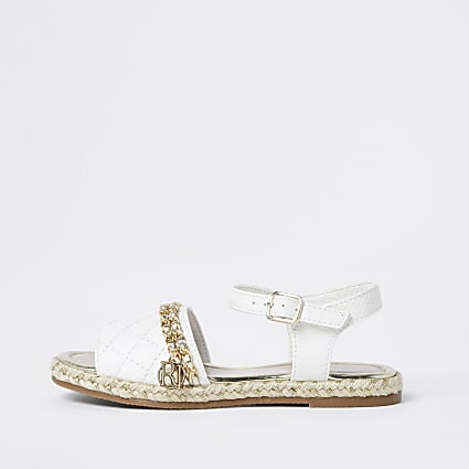 Girls white quilted chain sandal