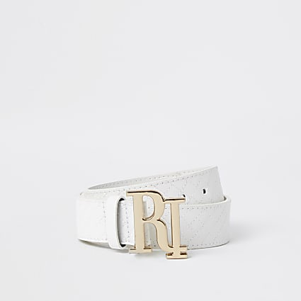 Girls white quilted RI bucklebelt
