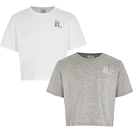 Girls white 'R' logo print t-shirt 2 pack