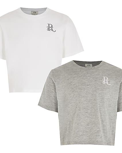 Girls white 'R' logo print t-shirt 2 pack