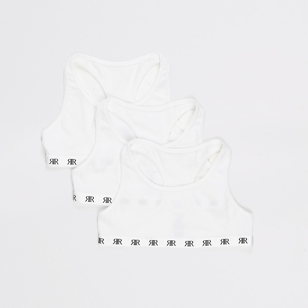 Girls white racer back crop top 3 pack