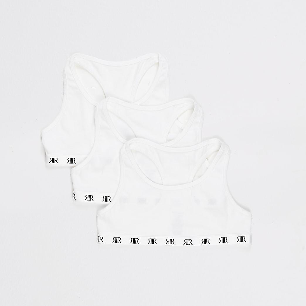 Witteracerback crop tops voor meisjes multipack