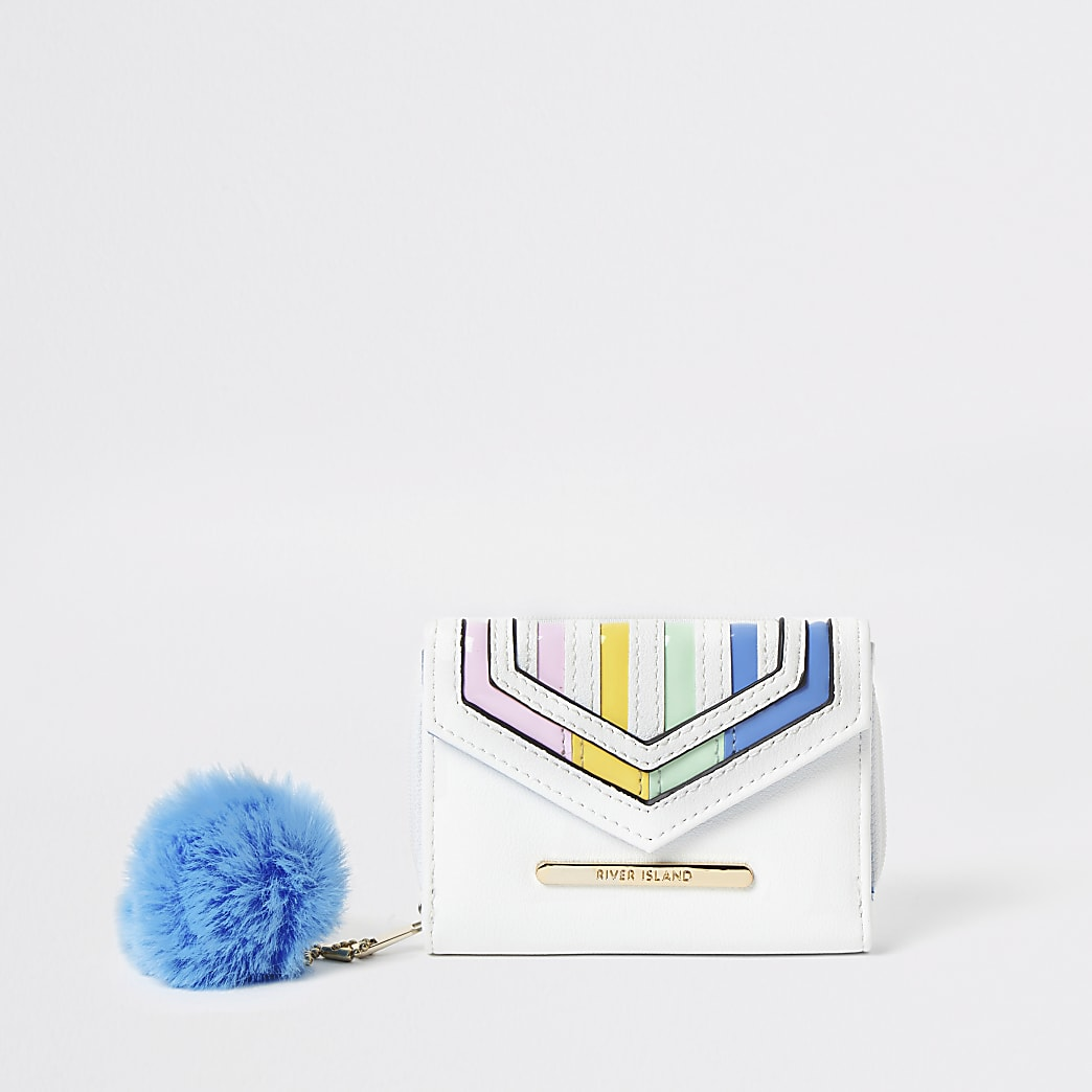 Girls white rainbow stripe fold out purse