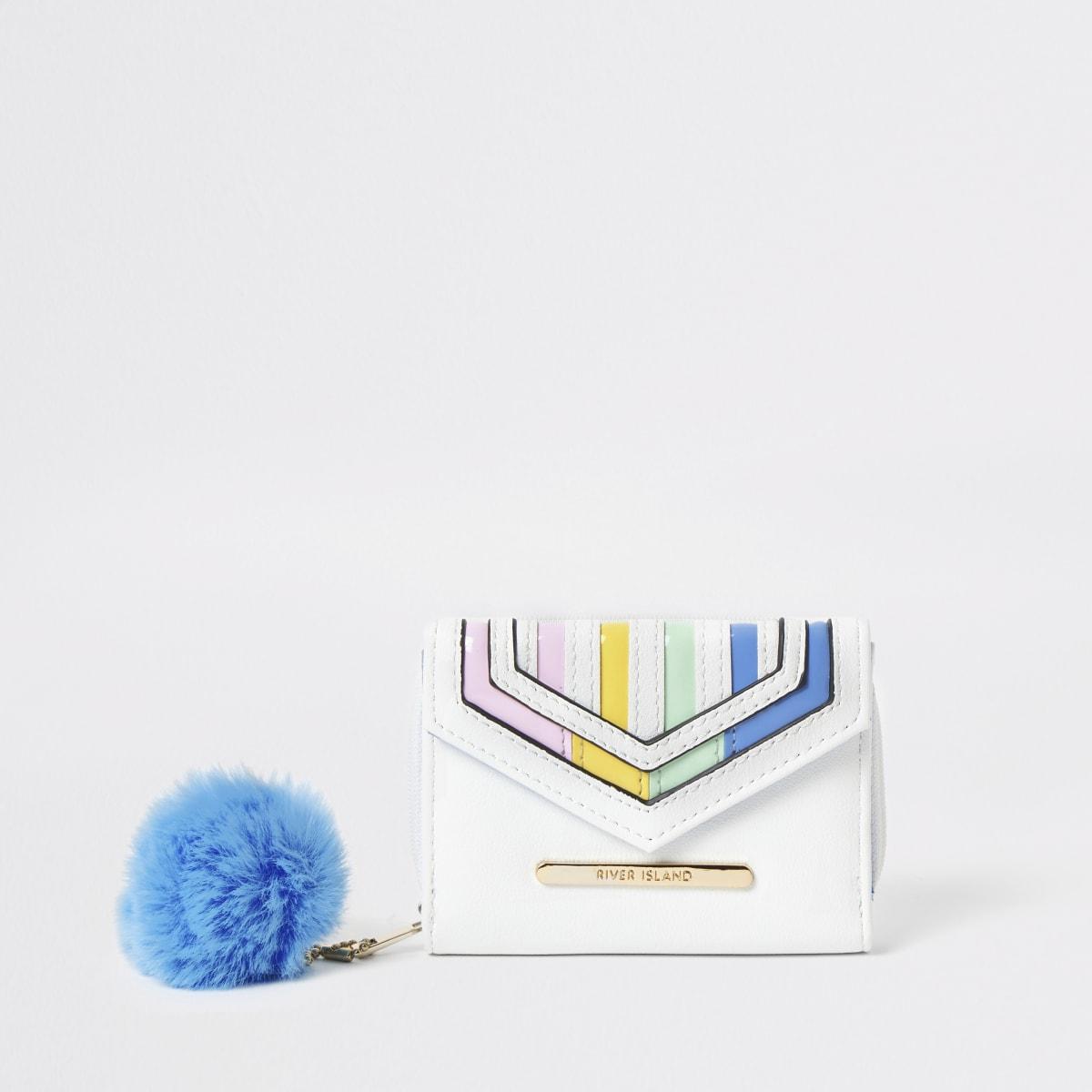 Girls white rainbow stripe fold out purse