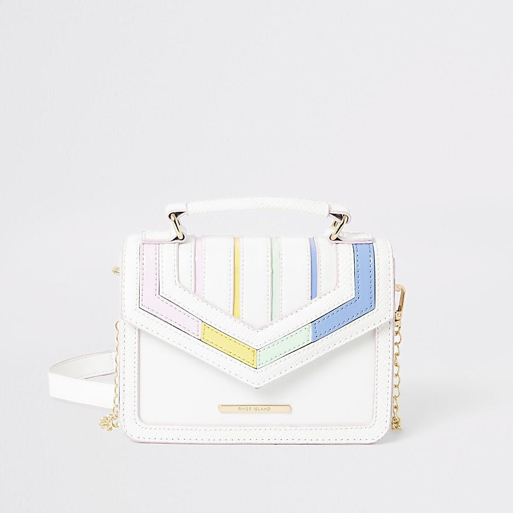 Girls white rainbow stripe satchel bag