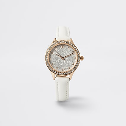 Girls white rhinestone watch