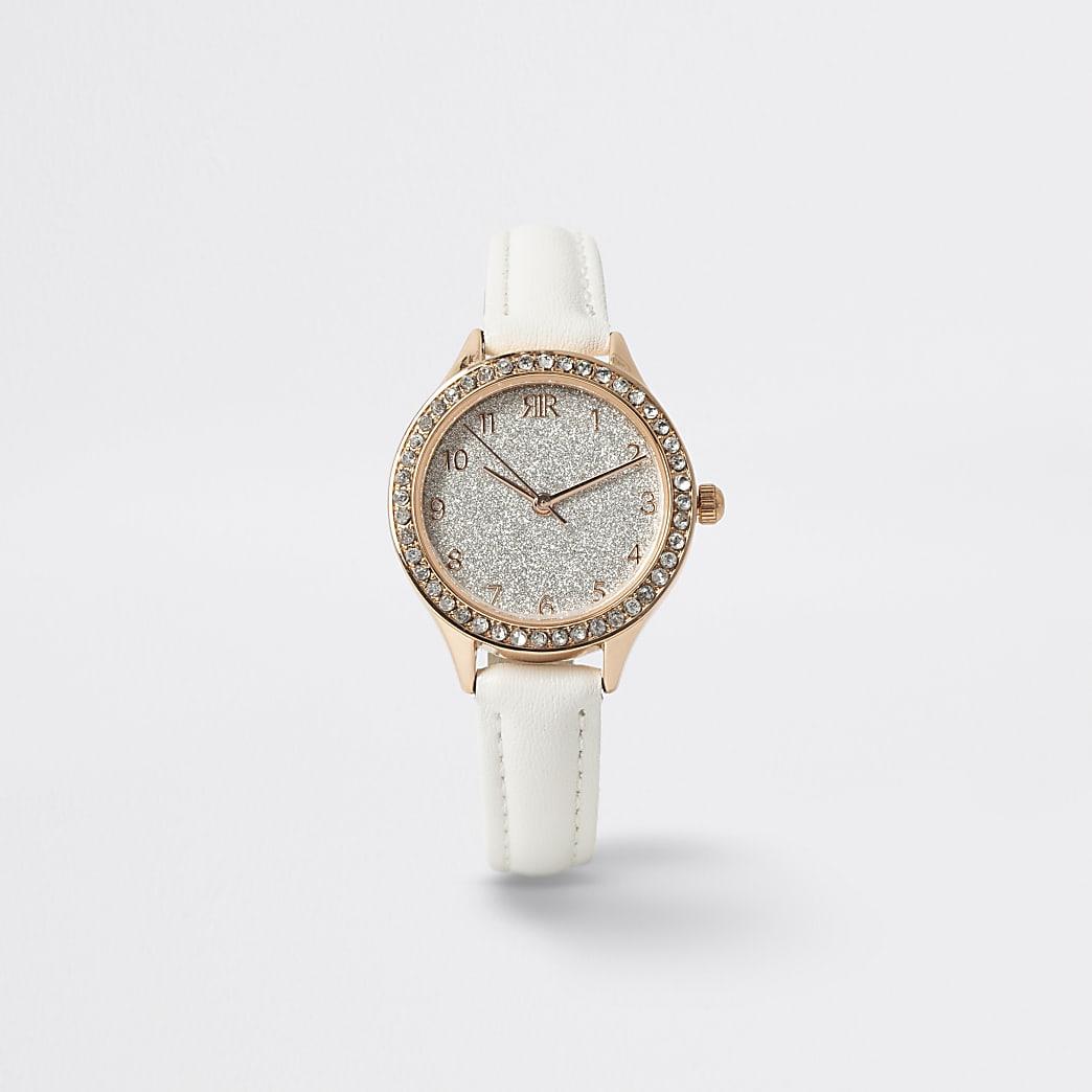 Girls white rhinestone watch