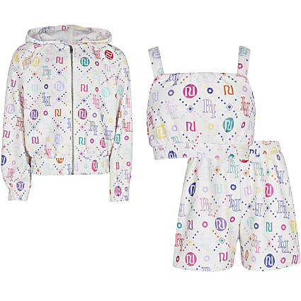 Girls white RI 3 piece loungewear set