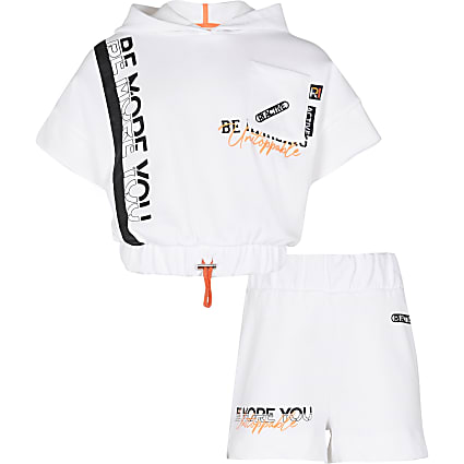 Girls white RI Active cinch hoodie outfit