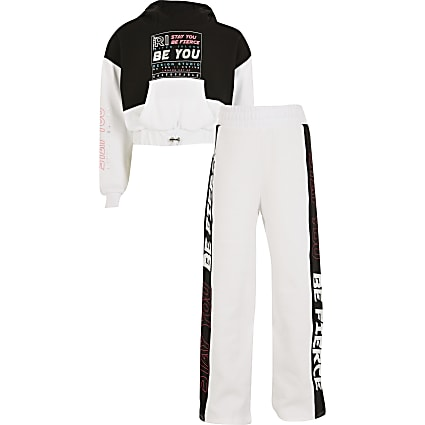 Girls white RI Active colour block tracksuit